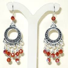 Red Chandelier Earrings Bali Silver Chandelier W Swarovski 5000 Indian Red Ab Crystal