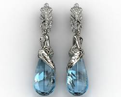 mermaid earrings mermaid earrings in gold mermaid jewelry 3d model 3d printable 3dm