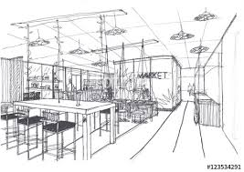 outline sketch drawing and paint of a interior space office