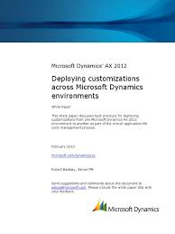 deploying customizations across microsoft dynamics ax 2012