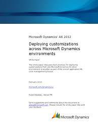 deploying customizations across microsoft dynamics ax 2012