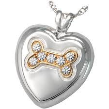 pet urn necklace dog bone heart with stones cremation jewelry