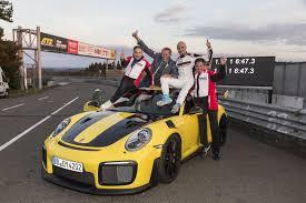 porsche side view porsche 911 gt2 rs breaks lap record at nurburgring nordschleife