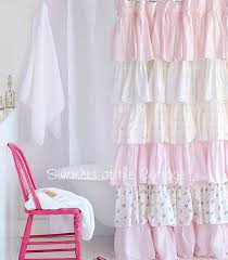 Ruffled Pink Curtains Cottage Colors Ruffle Shower Curtain Pink Roses Pink Roses