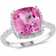 Diamond Cushion Cut Ring Tangelo 5 3 4 Carat T G W Cushion Cut Created Pink Sapphire And