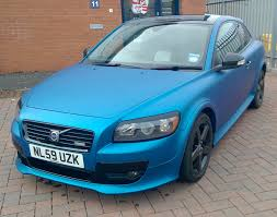 matte teal car matte metallic blue volvo c30