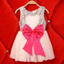 silver sequins dress with big bows children