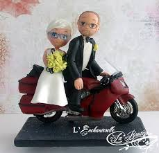 moto motorcycle goldwing mature old people wedding cake topper by