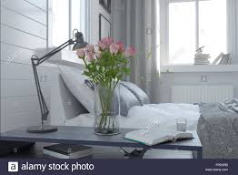 Pretty Vase Pretty Vase Of Fresh Pink Roses In A Modern Bedroom Interior