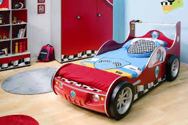 design bed in the room child with pillow and mattress sport car