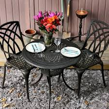Cast Aluminium Outdoor Furniture by Anna 80cm Round 2 Seater Cast Aluminium Patio Set Lazy Susan