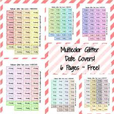 printable planner cover 2016 multicolor glitter date covers free printable planner stickers