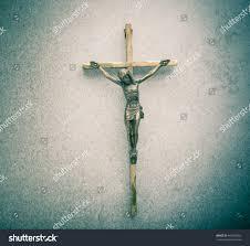 crucifix jesus on cross stone background stock photo 463546262