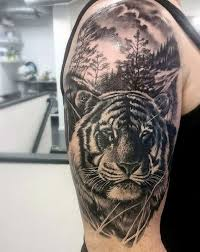 grey and white tiger on right half sleeve