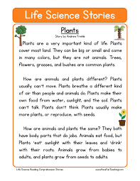 this reading comprehension worksheet plants is for teaching