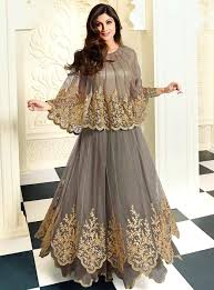 cape designs grey net anarkali suit with cape uk designer asian clothing