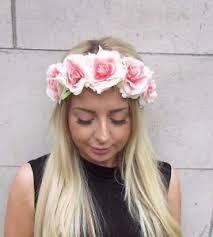 flower headband blush pink flower headband festival hair crown band