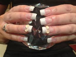 full set of acrylic nails with white glitter dust on tips 3d nail
