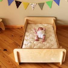 natural toddler bed montessori bed crib sized by highlandwood