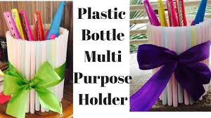 how to make pen holder with plastic bottle drinking straw craft