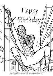 free printable coloring birthday cards boys spiderman