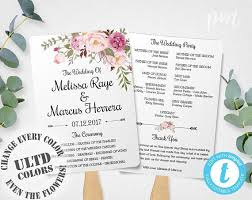 program fans for wedding ceremony wedding program fan template bohemian floral instant