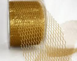 wide mesh ribbon gold mesh ribbon etsy