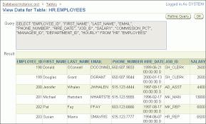 hr schema tables data managing schema objects 11g release 2 11 2