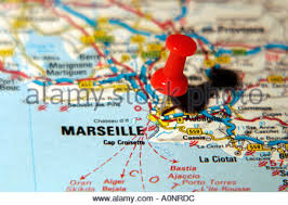 marseilles map map pin pointing to marseilles on a road map stock photo