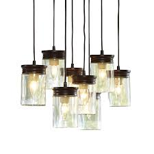 Jelly Jar Light With Cage by Shop Allen Roth 24 In W Bronze Pendant Light With Clear Shade At