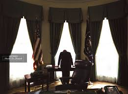 Oval Office Gold Curtains President John F Kennedy In The Oval Office Shown In One Of The