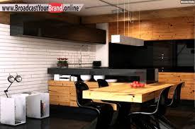 küche mit esstisch wohnideen küche modern holz esstisch schwarze glas küchenrückwand