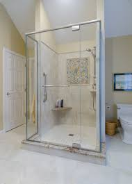 shower ideas large shower with custom glass door corner seat