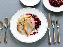 roasted turkey breast with gravy and cranberry pomegranate