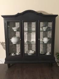 Rustic Cabinets Curio Cabinet Refurbished Curio Cabinet Chalk Painted Soft Black