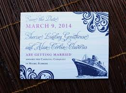 cruise wedding invitations navy fuchsia swirls cruise ship wedding save the date cards