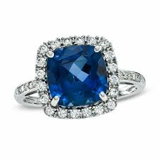 all sapphire rings images Cushion cut lab created ceylon and white sapphire ring in 10k jpg