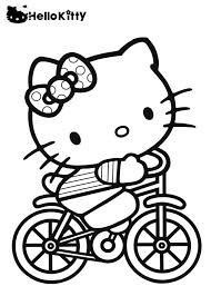 kitty riding bicycle kitty coloring pages