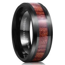 wood inlay wedding band king will nature 8mm black tungsten carbide ring wood inlay