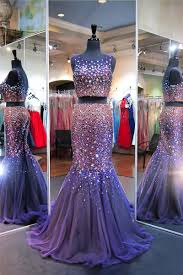 purple tulle sparkly mermaid scoop neck two purple tulle beaded prom dress