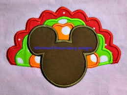 mickey turkey thanksgiving applique machine embroidery design