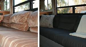 bedding rv renovation jackknife couch before after futons ikea
