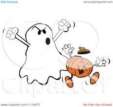 cartoon of a halloween ghost frighteneing a jackolantern royalty