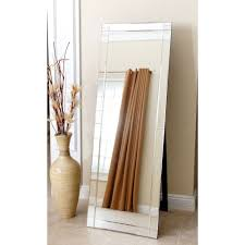 Beveled Floor Mirror by Modern Full Length Floor Standing Beveled Mirror In Silver Finish