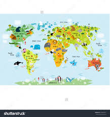 Flat World Map Vector Map Of The World With Animals 275848301 Shutterstock