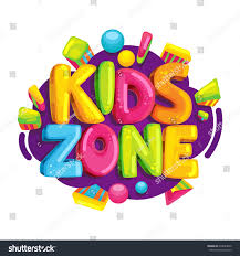 kids zone cartoon logo colorful bubble stock illustration
