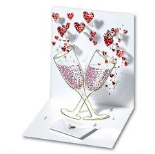 chagne pop up greeting card by up with paper