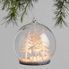 glass cloche light up winter ornaments set of 2 world market