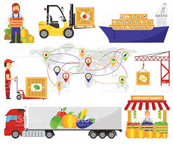 fruits delivery green eco food fruits delivery truck vector illustration
