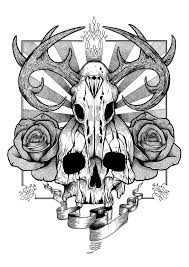 skull and roses design by aaronkingillustrator on deviantart